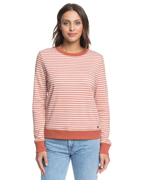 SNOW WHITE STRIPE WOMENS CLOTHING ROXY JUMPERS - ERJFT04236-XWNC