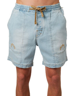 BLEACHED INDIGO MENS CLOTHING THE CRITICAL SLIDE SOCIETY SHORTS - WT1803BLIND