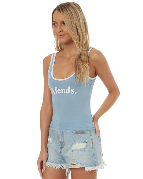 BLUE WOMENS CLOTHING AFENDS SINGLETS - 50-06-018BLU