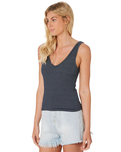 NAVY STRIPE WOMENS CLOTHING ALL ABOUT EVE SINGLETS - 6405133STR