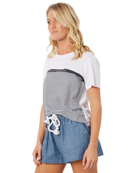 NAVY STRIPE WOMENS CLOTHING ELWOOD TEES - W83105-JF6