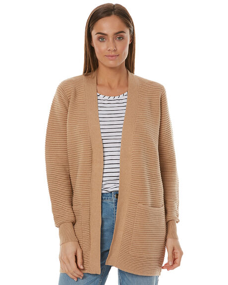 Swell Rib Longline Pocket Cardigan - Camel | SurfStitch