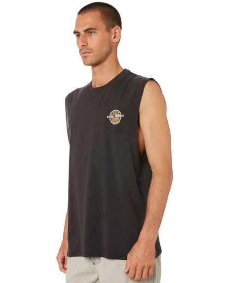 VINTAGE BLACK MENS CLOTHING THRILLS SINGLETS - TR9-122BVVNBLK