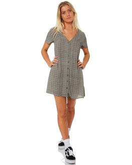 BLACK PLAID WOMENS CLOTHING RVCA DRESSES - R282753BLKPL