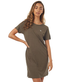 DUSTY OLIVE WOMENS CLOTHING THRILLS DRESSES - WTS7-902FDOLIV