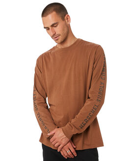 SADDLE BROWN MENS CLOTHING HERSCHEL SUPPLY CO TEES - 50029-00475