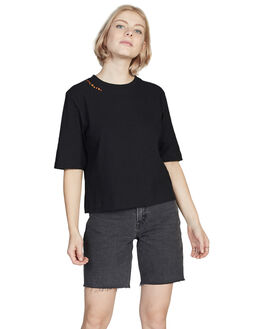 BLACK WOMENS CLOTHING QUIKSILVER TEES - EQWKT03026-KVJ0