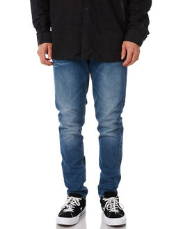 WORN MID BLUE MENS CLOTHING DR DENIM JEANS - 1330125-G40