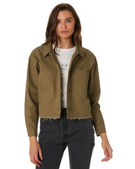 ARMY GREEN WOMENS CLOTHING THRILLS JACKETS - WTW9-204FARMY