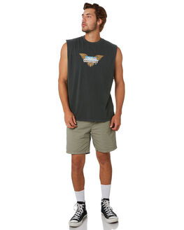 MERCH BLACK MENS CLOTHING THRILLS SINGLETS - TA20-104BMMCBLK