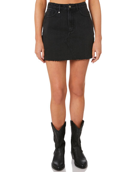 FADED BLACK WOMENS CLOTHING THRILLS SKIRTS - WTDP-329FBFDBK