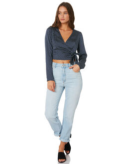 NAVY WITH WHITE WOMENS CLOTHING THE FIFTH LABEL FASHION TOPS - 40190246-1NAV