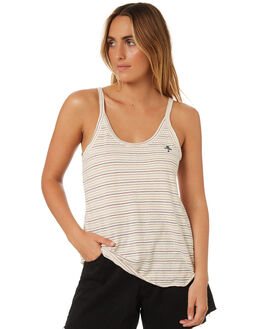 NATURAL STRIPE WOMENS CLOTHING THRILLS SINGLETS - WTS8-114AZNAT