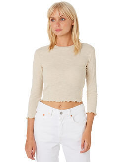BROWN CREAM WOMENS CLOTHING MINKPINK TEES - MB1809007BCRM
