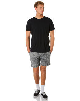 BLACK ACID WASH MENS CLOTHING BRIXTON SHORTS - 04090BLKAW