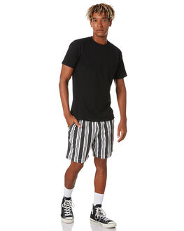 BLACK STRIPE MENS CLOTHING THE PEOPLE VS SHORTS - AW20078BLKS