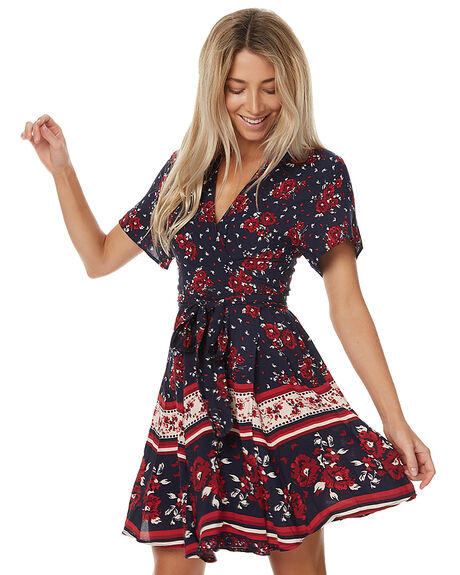 FLORAL BORDER PRINT WOMENS CLOTHING THE HIDDEN WAY DRESSES - H8161113BFLOR