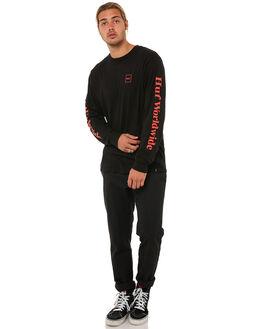 BLACK RED MENS CLOTHING HUF TEES - TS00146BLK