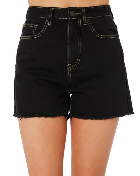 WASHED BLACK WOMENS CLOTHING THE HIDDEN WAY SHORTS - H8183232WSHBK