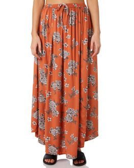 RUST FLORAL WOMENS CLOTHING O'NEILL SKIRTS - 5421616RSF