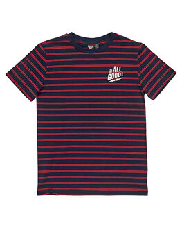 NAVY RED STRIPE KIDS BOYS ALPHABET SOUP TOPS - AS-KTC8328NVRD