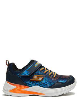 NAVY ORANGE KIDS BOYS SKECHERS SNEAKERS - 90563LNVOR