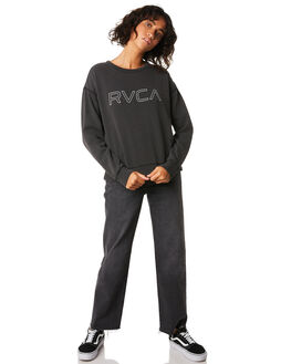WASHED BLACK WOMENS CLOTHING RVCA JUMPERS - R293156WBLK