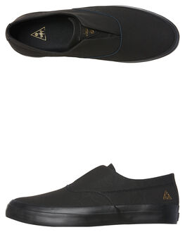 BLACK MENS FOOTWEAR HUF SLIP ONS - VC00014BLK