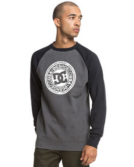 BLACK CHARCOAL HTHR MENS CLOTHING DC SHOES JUMPERS - EDYSF03177XKKK