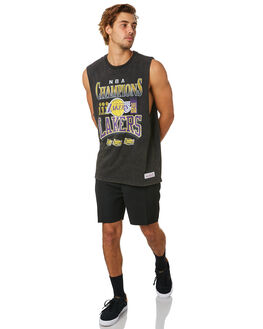 LAKERS BLACK MENS CLOTHING MITCHELL AND NESS SINGLETS - 4124VINTAGECHAMPBLK