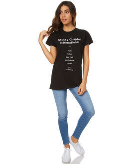 BLACK WOMENS CLOTHING STUSSY TEES - ST176003BLK