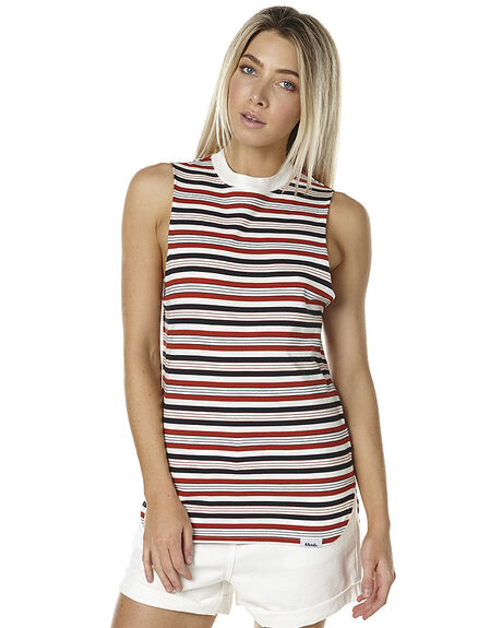 RED NAVY STRIPE WOMENS CLOTHING AFENDS SINGLETS - 50-09-013STR