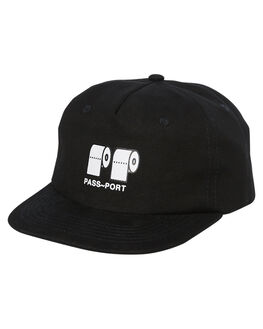 BLACK MENS ACCESSORIES PASS PORT HEADWEAR - PPPOOCAPBLK