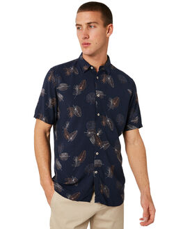 NAVY FLORAL MENS CLOTHING BARNEY COOLS SHIRTS - 306-CR3NFLRL