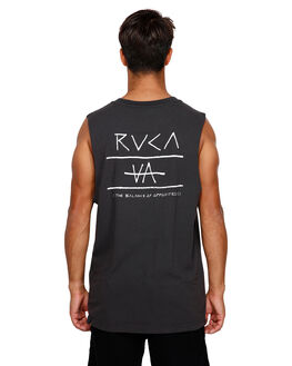BLACK MENS CLOTHING RVCA SINGLETS - RV-R191006-BLK
