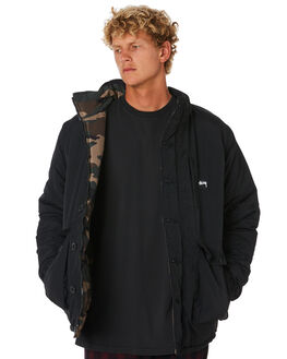 BLACK CAMO MENS CLOTHING STUSSY JACKETS - ST006508BLKCM