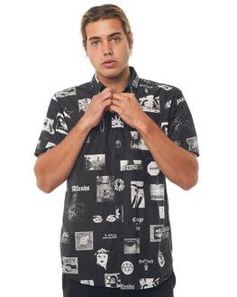 BLACK MENS CLOTHING AFENDS SHIRTS - M181203BLK