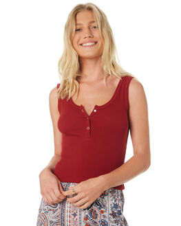 BURGUNDY WOMENS CLOTHING ALL ABOUT EVE SINGLETS - 6401039BUR