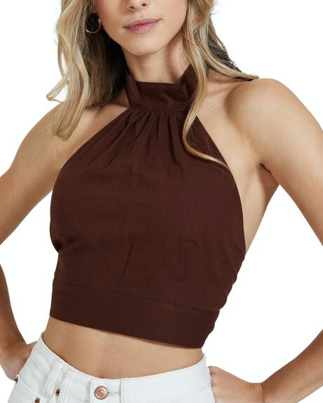 CHOCOLATE BROWN WOMENS CLOTHING SUBTITLED FASHION TOPS - 38879800022