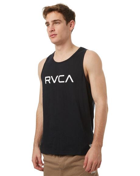 BLACK MENS CLOTHING RVCA SINGLETS - R371007BLK