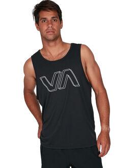 BLACK MENS CLOTHING RVCA SINGLETS - RV-R307004-BLK