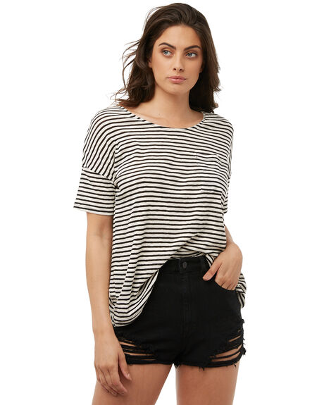 BLACK WOMENS CLOTHING RUSTY TEES - TTL0932BLK