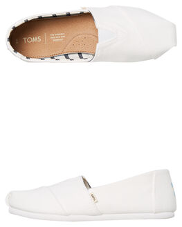 WHITE CANVAS WOMENS FOOTWEAR TOMS SLIP ONS - 10013874WCNVS