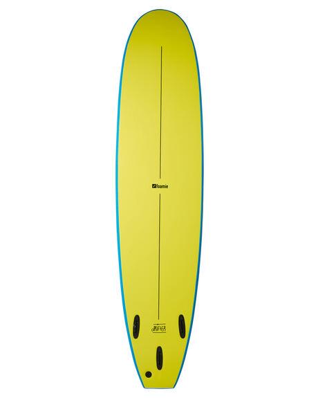 BLUE FLURO YELLOW BOARDSPORTS SURF FOAMIE SOFTBOARDS - F8BLUEBLUFY