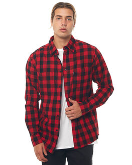 BLACK RED MENS CLOTHING AFENDS SHIRTS - M181253BLKR
