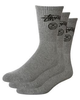 GREY MARLE MENS CLOTHING STUSSY SOCKS + UNDERWEAR - ST761017GRYM