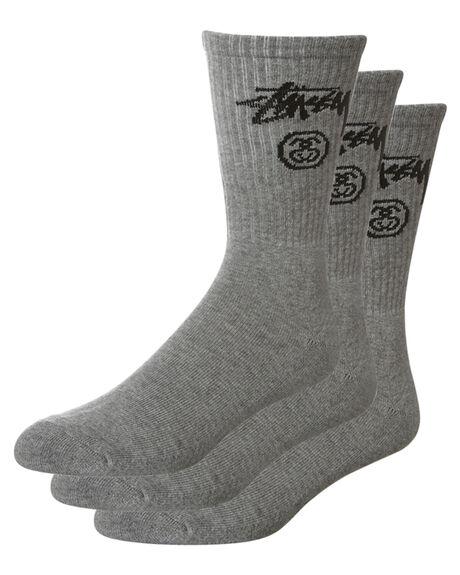 07092fc6e8c Stussy Stock Crew Sock 3 Pack - Grey Marle