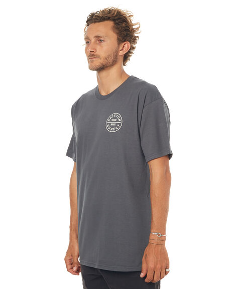 CHARCOAL MENS CLOTHING BRIXTON TEES - 06648CHARC