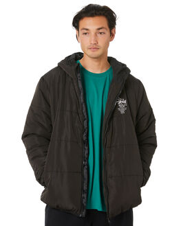 BLACK MENS CLOTHING STUSSY JACKETS - ST006500BLK
