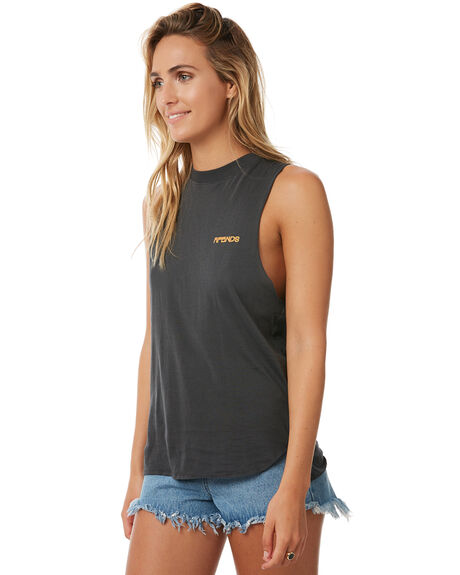FADED BLACK WOMENS CLOTHING AFENDS SINGLETS - 50-03-046-FBLK